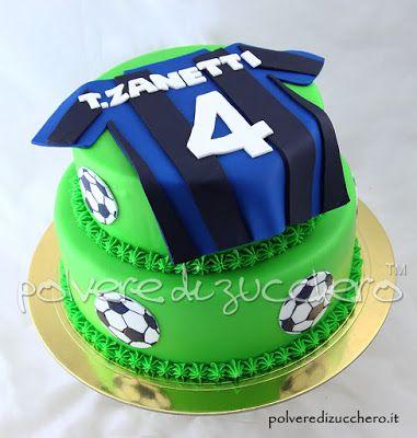 Torta decorata tema calcio con maglietta dell'inter  Decorated cake football with Inter shirt