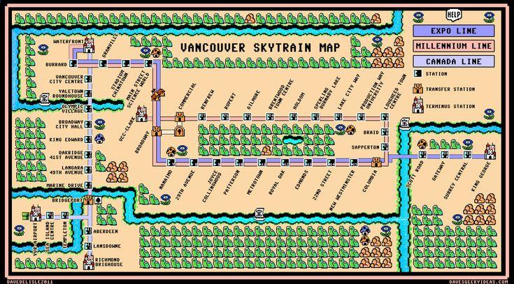 SMB3 Vancouver Skytrain Map
