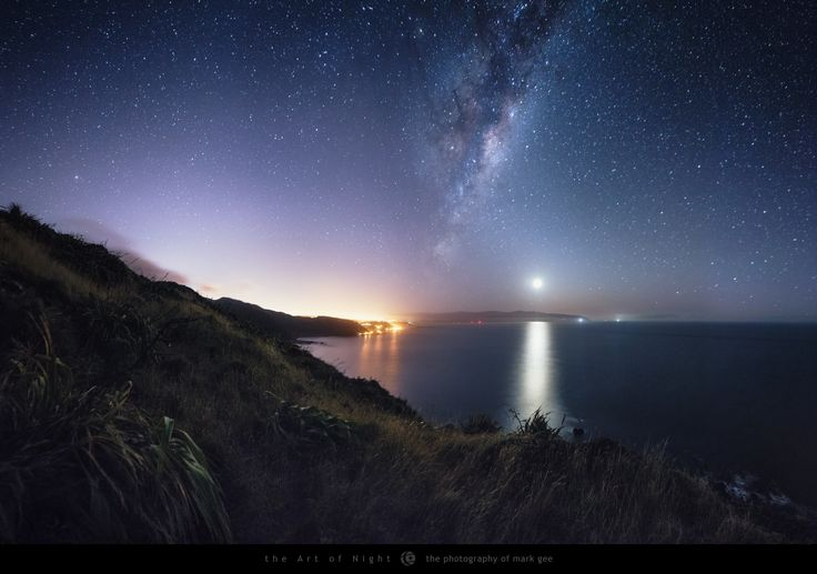 Early Morning Rise - The early morning sky to the east is looking amazing at the moment. I shot this image looking along the Wellington South Coast in New Zealand as the moon and galactic centre of the Milky Way was rising.