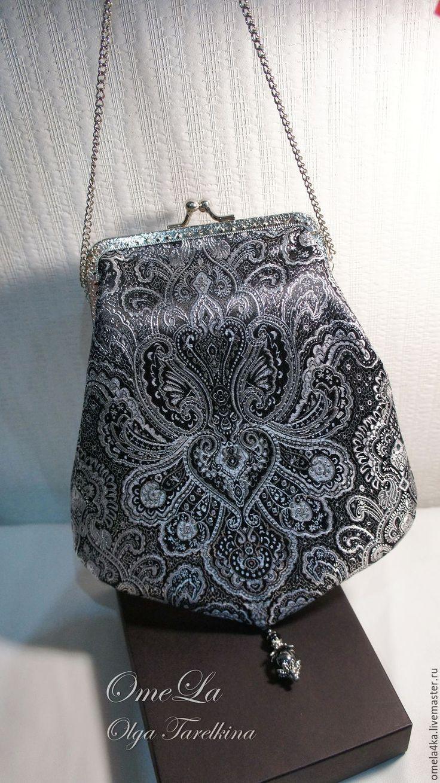 Купить Сумочка из парчи. - серебряный, орнамент, черный, сумка ручной работы, вечерняя сумочка