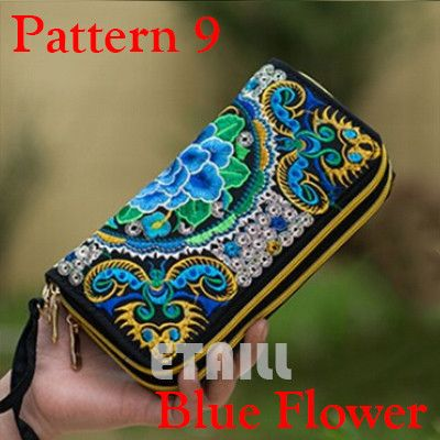 Peacock Thailand Boho Embroidered Purse Female Clutch Long Wallet Coin Bag Lady Mobile Phone Bag Luxury Brand Wallet