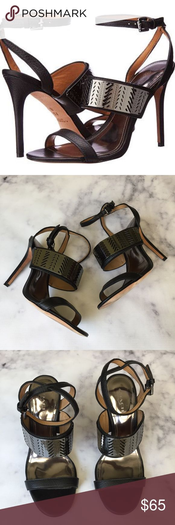 """COACH Black Hadley Embellished Ankle Strap Heels super fun black leather Hadley ankle strap heels from COACH. Feature perforated metal band on top strap. leather upper and sole. excellent condition - worn just twice. 4"""" heels. size 6. 7I2158. Coach Shoes Heels"""