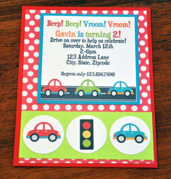 Car Invite Car Invitation Beep Beep Vroom Vroom  A2 by scrappinash, $8.10