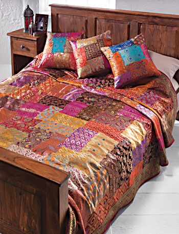 Brocade patchwork bedcover, assorted colours Namaste Fair Trading