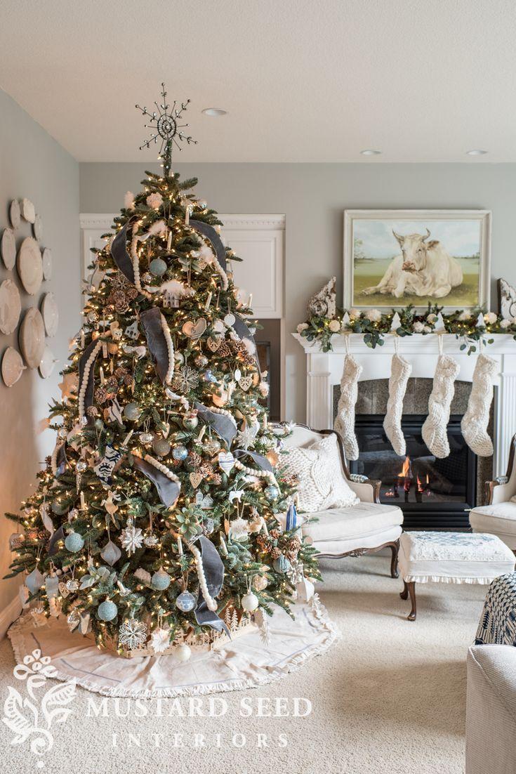 Blue White Christmas Living Room 2018 Miss Mustard Seed Christmas Apartment Small Apartment Christmas Tree Christmas Decor Diy