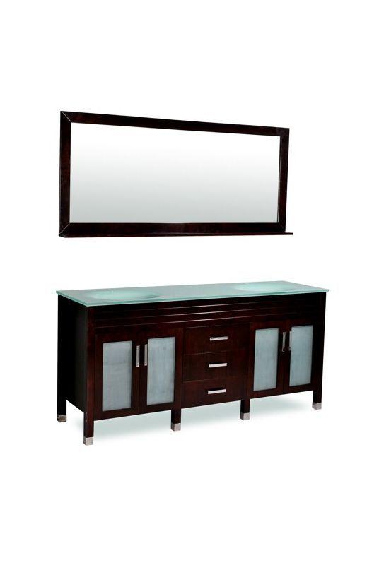 """Ariel DM1D3-72 72"""" Dayton Floor-Standing Contemporary Vanity Set - Includes Cabi Espresso Fixture Vanity Double"""