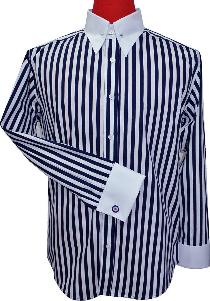 Modshopping - 60'S MOD NAVY BLUE STRIPE PIN COLLAR SHIRT, £45.00 (http://www.modshopping.com/60s-mod-navy-blue-stripe-pin-collar-shirt/)