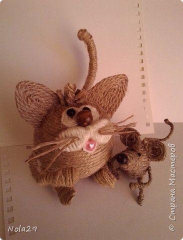Поделка изделие Моделирование конструирование Кот и Мышь из шпагата Шпагат фото 2