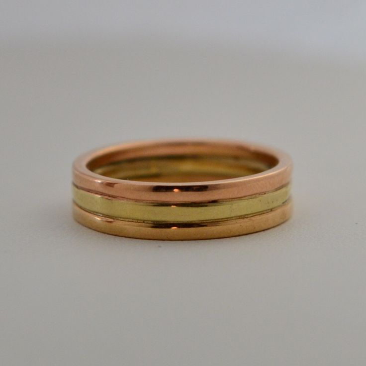 Triple Stacked Rose Green And Yellow Gold Grooms Wedding Band Handmade In Maine
