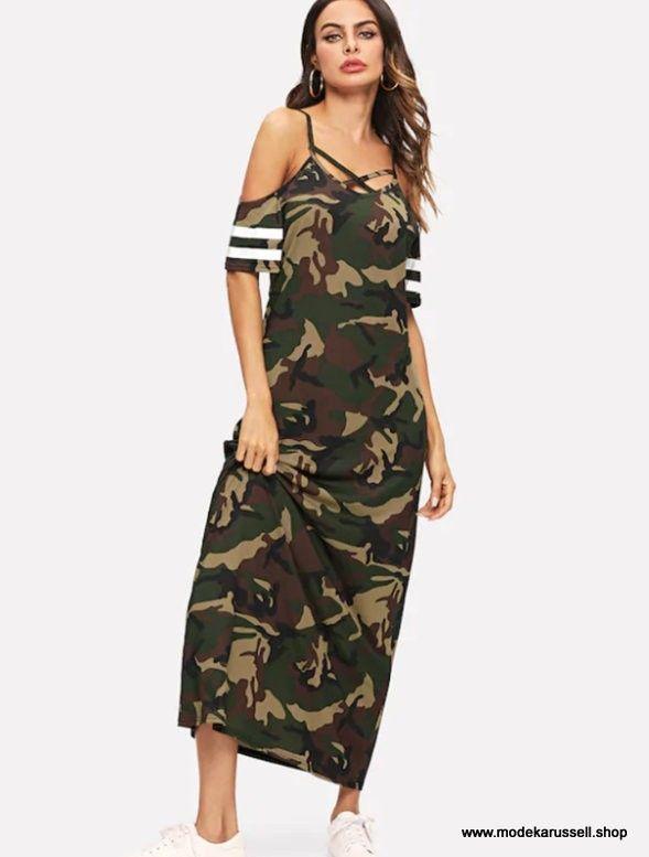 Damen Sommerkleid Jersey Dress Langarm Kleid Nachthemd 3//4 Langkleid Knielang