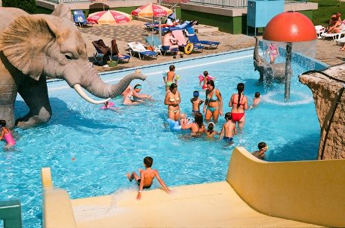 Watch out! There's an elephant in the pool in Hungarospa Aquapark, Hajduszoboszlo!