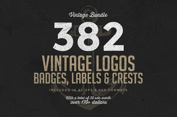 382 Vintage Logos Bundle by Zeppelin Graphics on @creativemarket