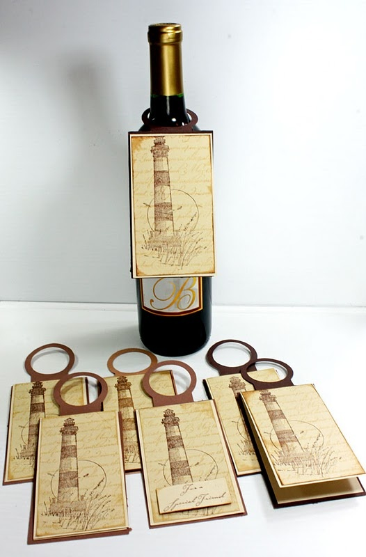 Wine Bottle Tag Cards Template SVG File - future class!