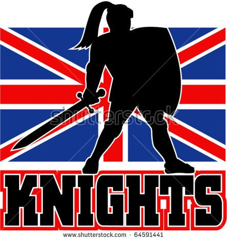 "illustration of Knight silhouette with sword shield side Great Britain British union jack flag in background words ""Knights"" suitable mascot for  sports sporting club organization - stock vector #knight #silhouette #illustration"