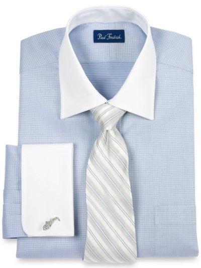 Paul Frederick - 100% Cotton Mini-Check Windsor Collar French Cuff Dress Shirt    http://www.paulfredrick.com/Catalog/PFProductDetails.aspx?Category=Dressshirts=DHG750F==16.5-35=products=No