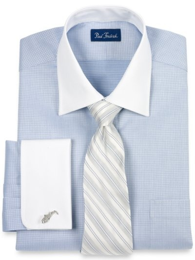 Paul Frederick - 100% Cotton Mini-Check Windsor Collar French Cuff Dress Shirt    http://www.paulfredrick.com/Catalog/PFProductDetails.aspx?Category=Dressshirts=DHG750F==16.5-35=products=No