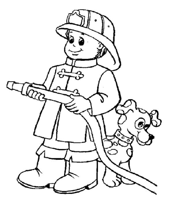 Pictures A Great And Energetic Fireman Coloring Pages