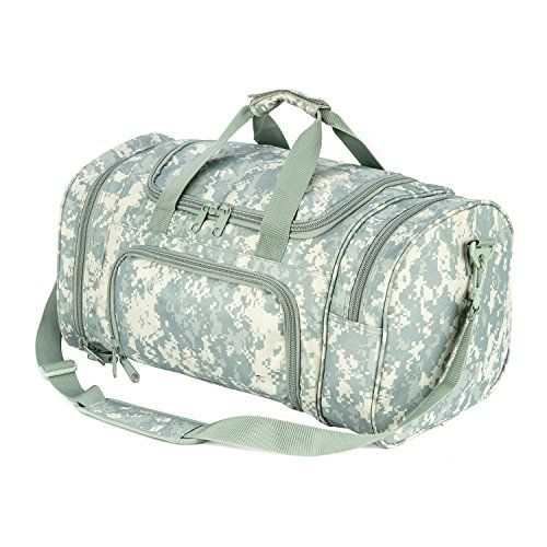 WolfWarriorX Military Tactical Duffle Bag, Large Storage Bag Luggage Duffle for Traveling, Gym, Vacation, Hiking & Trekking (ACU) - WolfWarriorX Large Locker Bag The main compartment is large and offers muildew resistant wipe-down material for longevity and stength over a lifetime for use. The side compartments offer more room for smaller items that need separation from the main compartment. Large areas on the side s and tip ...