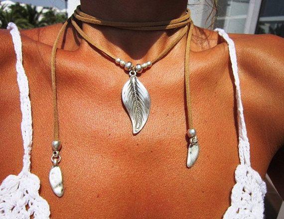 Envuelva el collar, collar de hoja natural, joyas Boho, joyas de Bohemia, joyería hippie, Bohemia collares, collares boho, joyería minimalista
