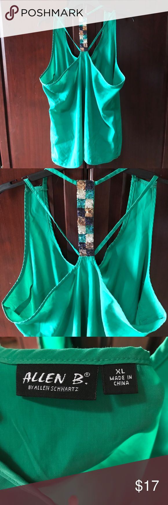 Green Tank Top w/ Sequence back 😍 Beautiful green tank top with sequence back! Size XL. Material is silky and fits perfect on curves! Worn a few times. ❌ NO TRADES. ABS Allen Schwartz Tops Tank Tops