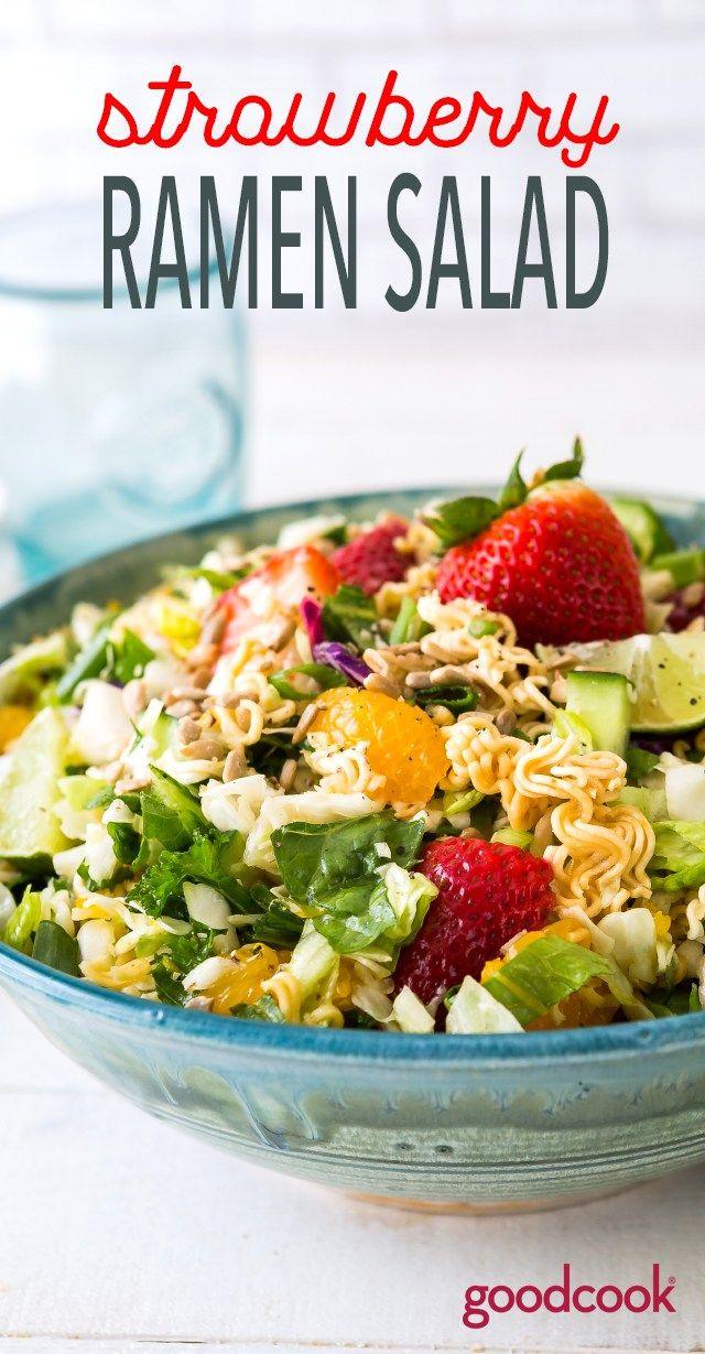 Strawberry Ramen Salad | picnic, potluck, recipe, salad, chopped salad, summer recipes, best potluck recipes
