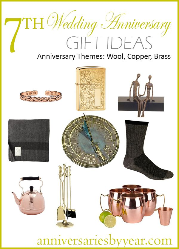 7th Anniversary gift ideas for Wool, Copper and Brass themes.  #copperanniversary #woolanniversary #brassanniversary #anniversaryideas #anniversarygifts #anniversary #gift #ideas #wool #copper #brass