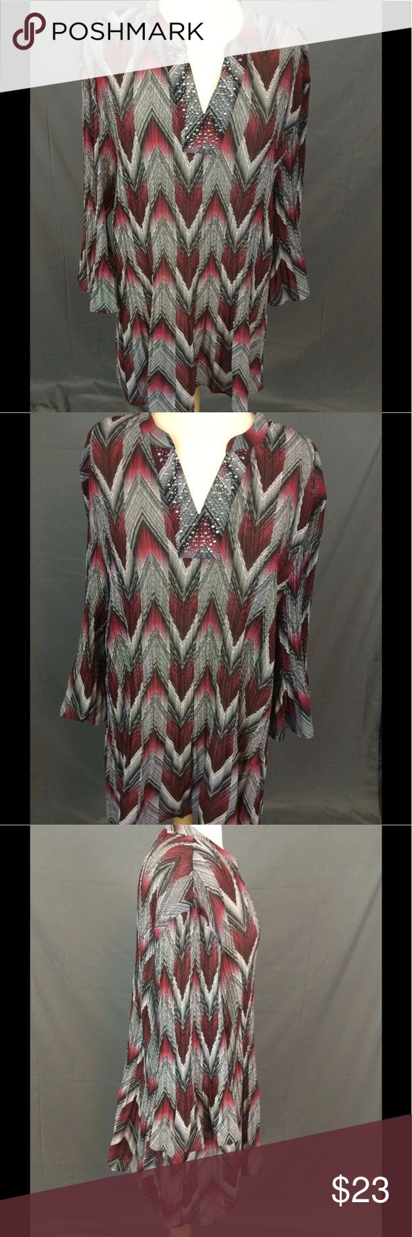 "Crinkle Chevron Studded V Neckline 3/4 Bell Sleeve Catherines Plus Size Crinkle Chevron Top Studded V Neck 3/4 Bell Sleeve Size 4X  Silver studded neckline.  Perfect Career Blouse   Underarm to underarm is approx 28 UN-stretched, 32"" stretched. Length is approx 33"" Catherines Tops"