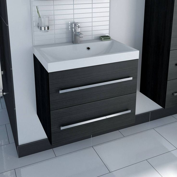 Drift Grey 2 Drawer Wall Hung Unit & Inset Basin - Now £199.00 - Less Than Half Price