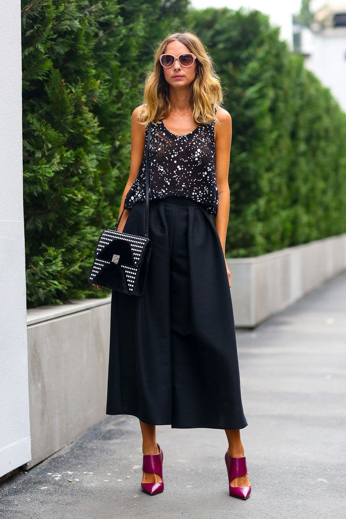 Best #streetstyle @ Spring 2015 Ready-to-Wear Milan Fashion Week #MFW | an embellished sleeveless top over a black full midi skirt and styled with purple ankle booties and a houndstooth print cross body handbag