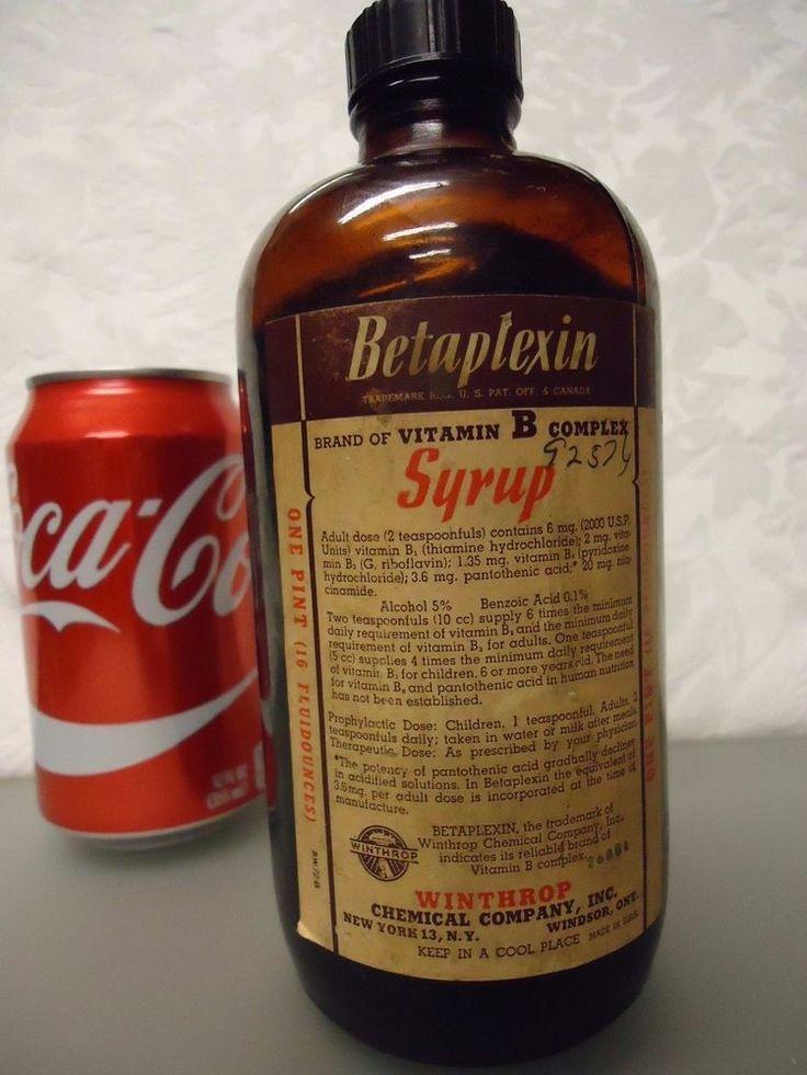 Betaplexin Syrup Winthrop Chemical Co.  vintage Empty Medicine Bottle 1 pint
