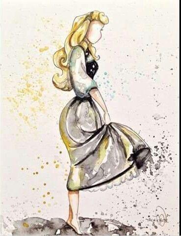princesa de Disney acuarela
