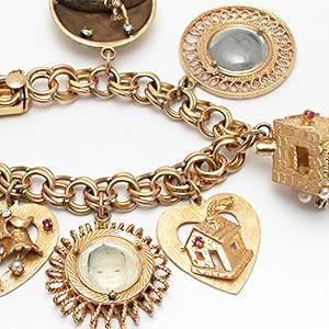 Vintage 1960's Charm Bracelet Solid 14K Gold W/Diamonds Gemstones & Pearls