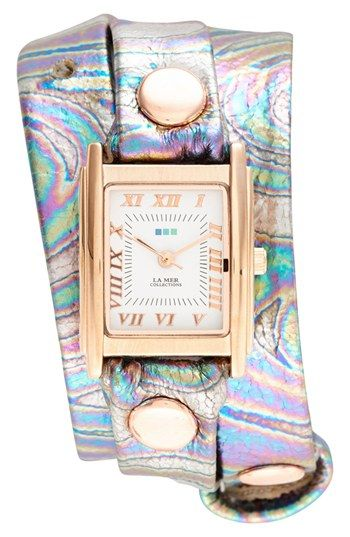 La Mer Collections 'Oil Spill' Square Wrap Watch, 22mm available at #Nordstrom