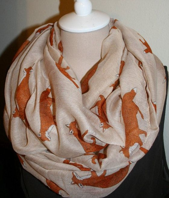 Free Shipping Infinity Fox Scarf Viscose Women Scarf  Women Mother Gift Scarves Summer Spring Scarf  Women Scarf with Fox by FlowersButterflies15 on Etsy