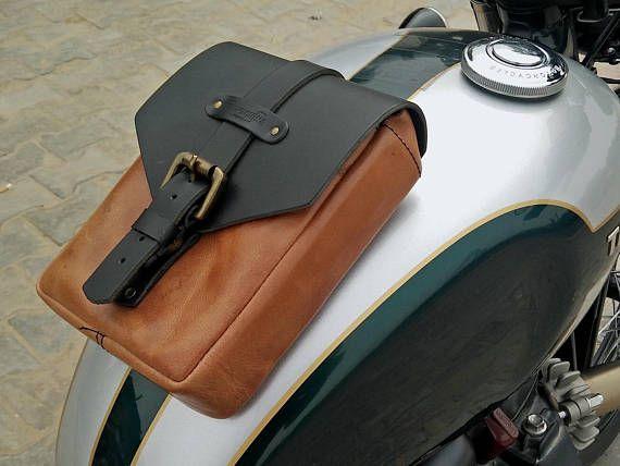 Leather Motorcycle Tank Pouch Vintage Tan Leder Cafe Racer Bauen
