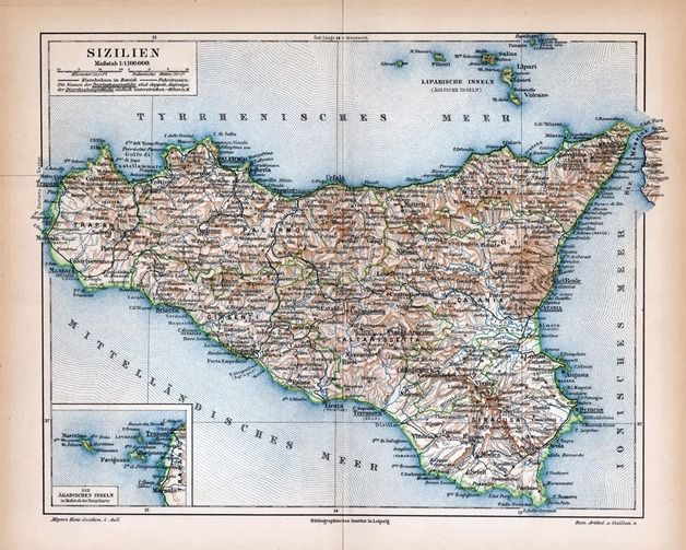 Vintage Landkarte, Reiseliteratur, Sizilien, Reiselust, Wanderkarte, Weltkarte / vintage road map, travel literature, sicily, wanderlust made by machinatemporis via DaWanda.com