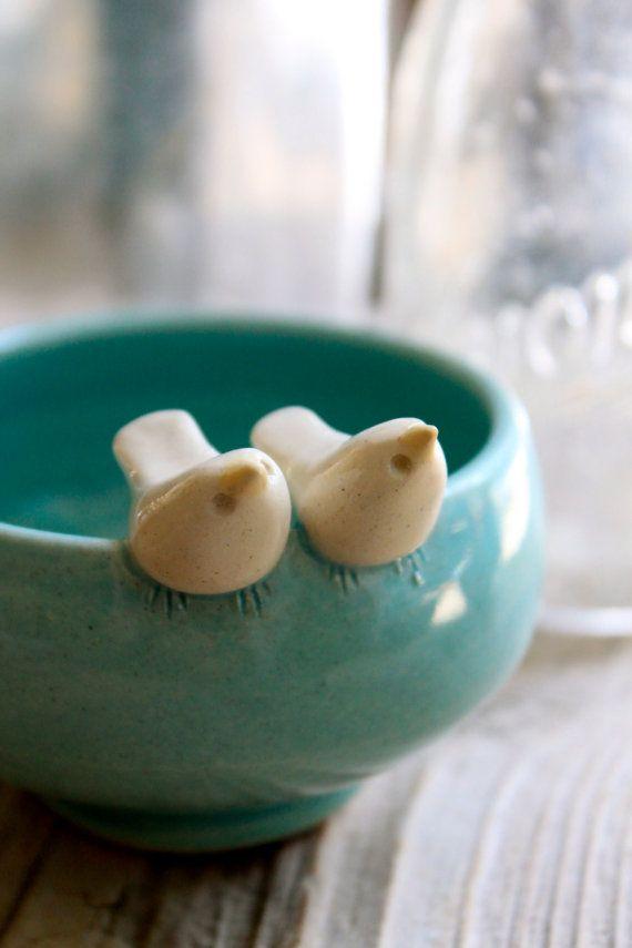 ceramic love birds bowl.