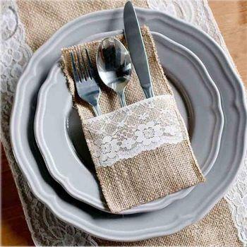"50 stuks vintage 4"" x8"" jute jute kant bruiloft decoratie gunst zakje servies bestek houder"