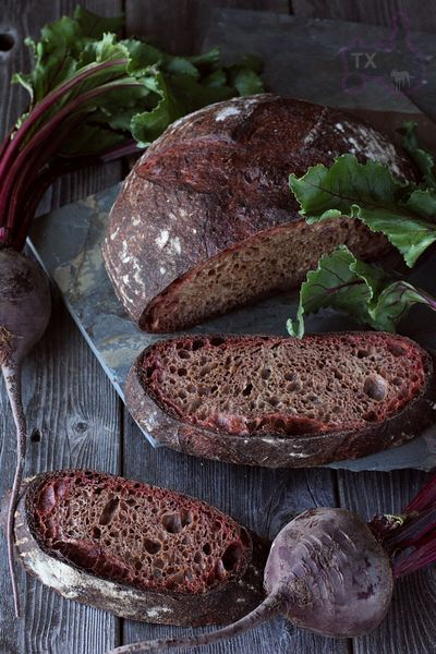 Sourdough Beet Bread (bread and WW flours, roast beet puree)