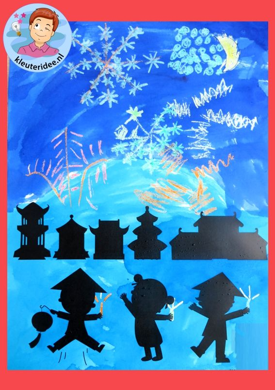 Chinees vuurwerk maken met kleuters 2, kleuteridee.nl, Chinese firework for kindergarten free printable