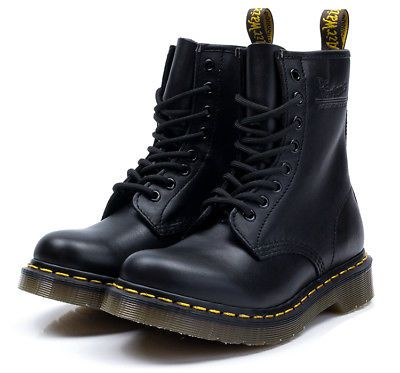 8f4ebd4e02e Dr. Martens 1460 Black Nappa Soft Leather Boots 8 Hole Unisex Men ...