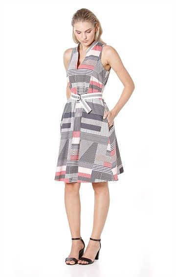 CANDY CANDY HIGH V-NECK SLEEVELESS KNEE LENGTH COTTON DRESS IN PINK GREY MULTI PRINT