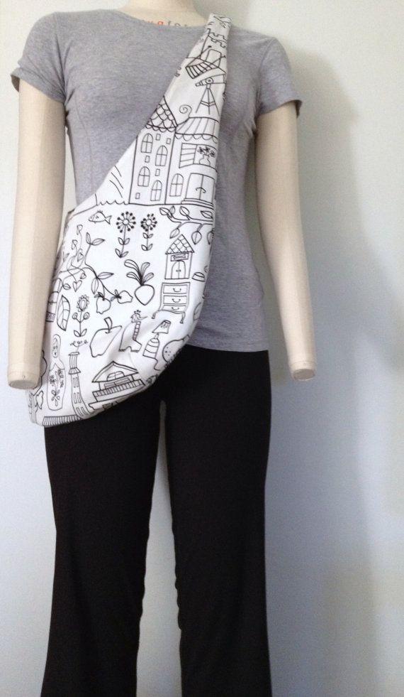 Hobo bag pattern, reversible sling bag pattern, cross body bag, slouch bag, shoulder bag in IKEA fabric, bohemian bag on Etsy, $8.50