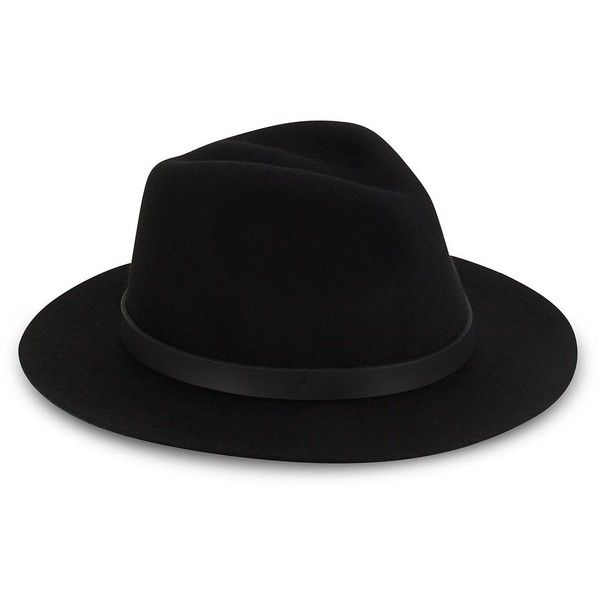 Saks Fifth Avenue Wool & Leather Fedora found on Polyvore featuring accessories, hats, brim fedora hat, leather hat, brimmed hat, cold weather hats and wool hat