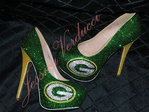 Custom NFL Green Bay Packers Glitter & Rhinestone Heels