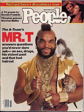 People Magazine cover: Mr. T with kittens. [pr].