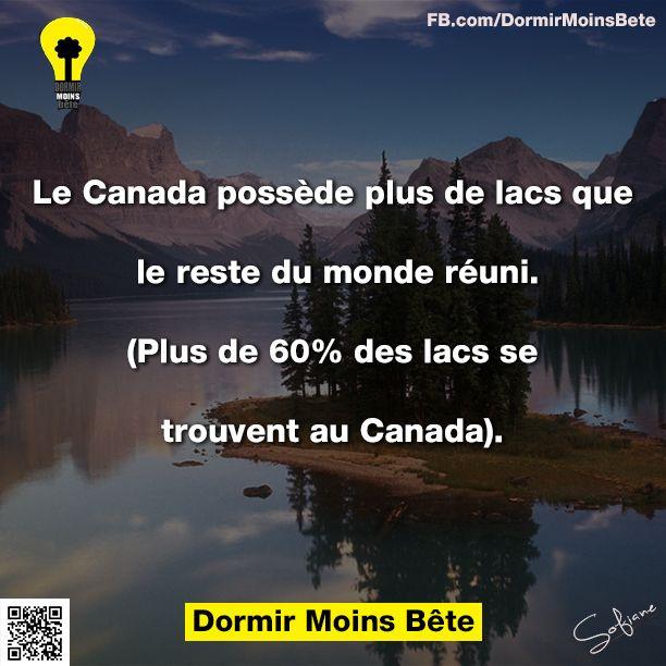 Le Canada possède plus de lacs que le reste du monde réuni. (plus de 60% des lacs se trouvent au Canada).