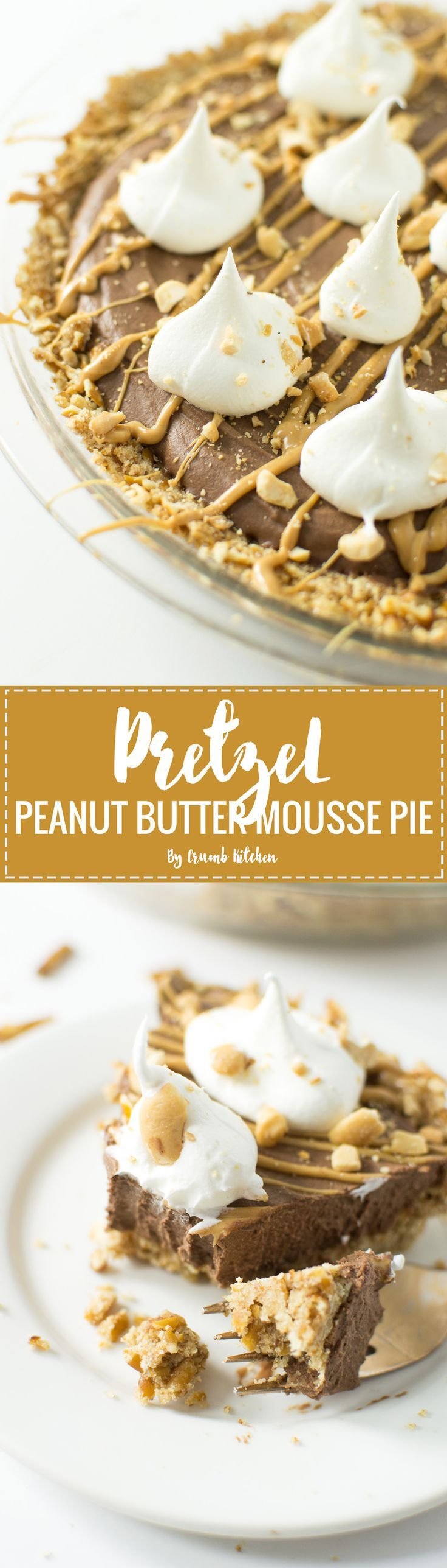 Pretzel crust topped with a vegan chocolate peanut butter mousse and dollops of whipped cream fill this Pretzel Peanut Butter Mousse Pie.   Crumb Kitchen