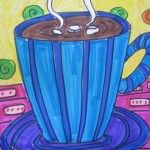 Fifth Grade artists drew beautiful cups of steaming hot chocolate, concentrating on pattern and color as they created their designs.