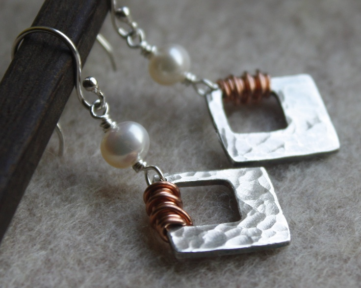 Canyonlands Earrings- Silver Copper Pearl, Mixed Metals, Hammered Silver.